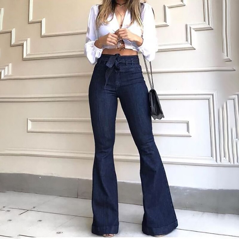 Jeans for Women Female High-waisted Jeans Mon Micro Elastic Cotton Bell-bottom Jeans Washed Denim Wide Leg Pants