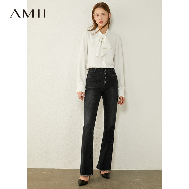 AMII Minimalism Autumn Women's Jeans Fashion High Waist Bell-bottomed Pants Single-breasted Causal Female Jeans